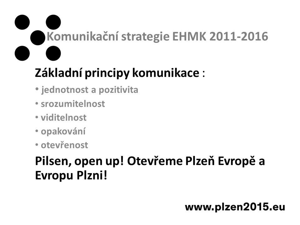 Komunikační strategie EHMK 2011-2016 Základní principy komunikace : jednotnost a pozitivita srozumitelnost viditelnost opakování otevřenost Pilsen, open up.
