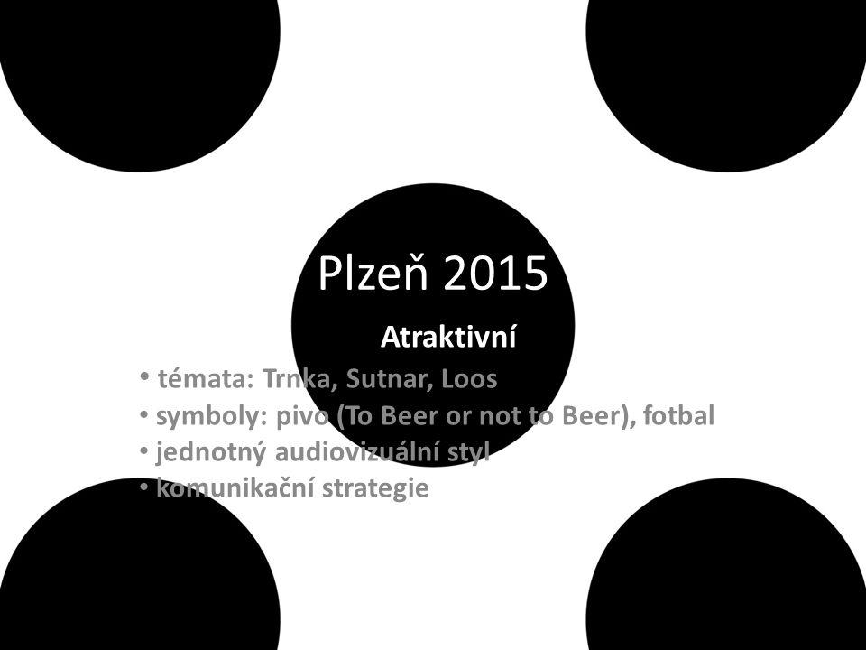 Plzeň 2015 Atraktivní témata: Trnka, Sutnar, Loos symboly: pivo (To Beer or not to Beer), fotbal jednotný audiovizuální styl komunikační strategie