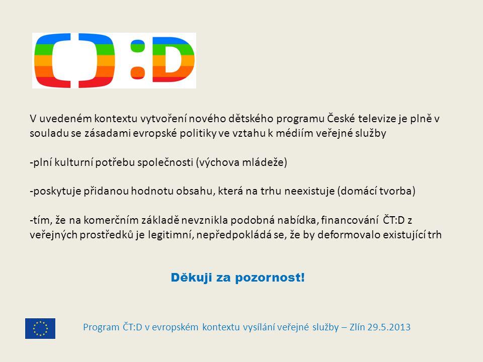 Program ČT:D v evropském kontextu vysílání veřejné služby – Zlín 29.5.2013 V uvedeném kontextu vytvoření nového dětského programu České televize je plně v souladu se zásadami evropské politiky ve vztahu k médiím veřejné služby -plní kulturní potřebu společnosti (výchova mládeže) -poskytuje přidanou hodnotu obsahu, která na trhu neexistuje (domácí tvorba) -tím, že na komerčním základě nevznikla podobná nabídka, financování ČT:D z veřejných prostředků je legitimní, nepředpokládá se, že by deformovalo existující trh Děkuji za pozornost!