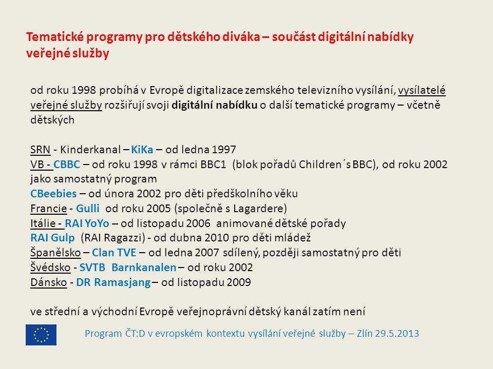 Program ČT:D v evropském kontextu vysílání veřejné služby – Zlín 29.5.2013 Tematické programy pro dětského diváka – součást digitální nabídky veřejné služby od roku 1998 probíhá v Evropě digitalizace zemského televizního vysílání, vysílatelé veřejné služby rozšiřují svoji digitální nabídku o další tematické programy – včetně dětských SRN - Kinderkanal – KiKa – od ledna 1997 VB - CBBC – od roku 1998 v rámci BBC1 (blok pořadů Children´s BBC), od roku 2002 jako samostatný program CBeebies – od února 2002 pro děti předškolního věku Francie - Gulli od roku 2005 (společně s Lagardere) Itálie - RAI YoYo – od listopadu 2006 animované dětské pořady RAI Gulp (RAI Ragazzi) - od dubna 2010 pro děti mládež Španělsko – Clan TVE – od ledna 2007 sdílený, později samostatný pro děti Švédsko - SVTB Barnkanalen – od roku 2002 Dánsko - DR Ramasjang – od listopadu 2009 ve střední a východní Evropě veřejnoprávní dětský kanál zatím není