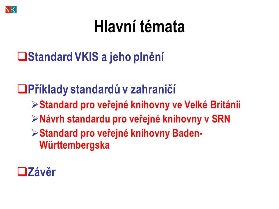 Hlavní témata  Standard VKIS a jeho plnění  Příklady standardů v zahraničí  Standard pro veřejné knihovny ve Velké Británii  Návrh standardu pro veřejné knihovny v SRN  Standard pro veřejné knihovny Baden- Württembergska  Závěr