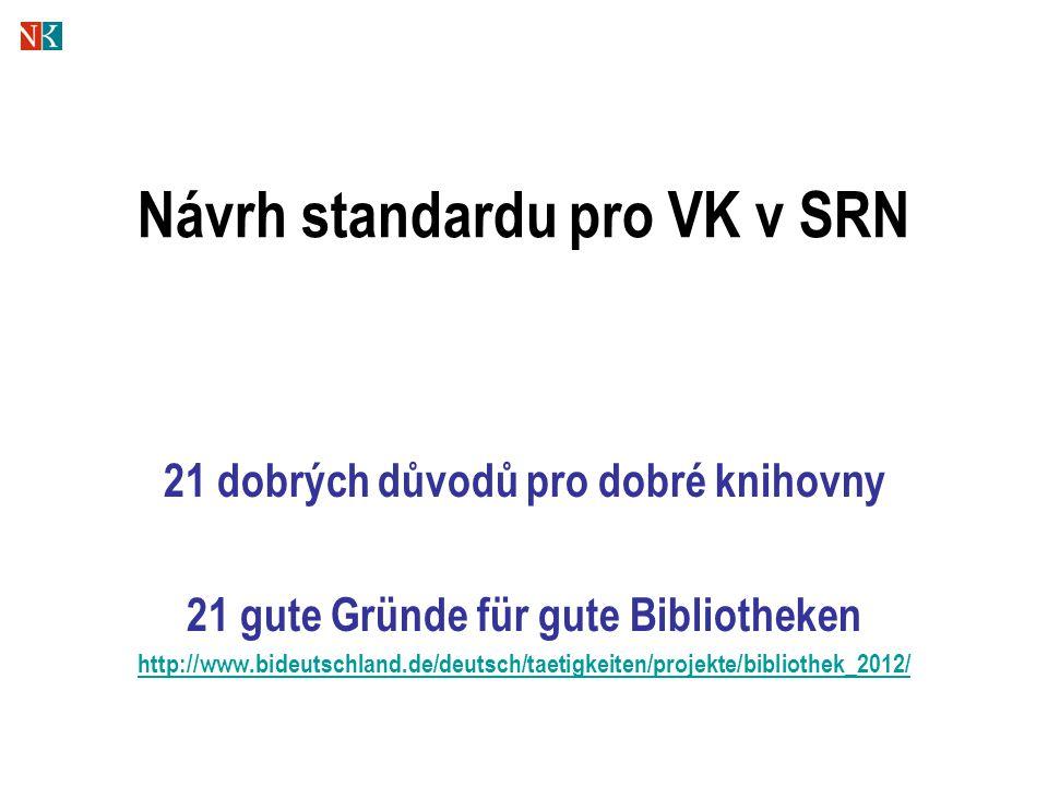 Návrh standardu pro VK v SRN 21 dobrých důvodů pro dobré knihovny 21 gute Gründe für gute Bibliotheken http://www.bideutschland.de/deutsch/taetigkeiten/projekte/bibliothek_2012/