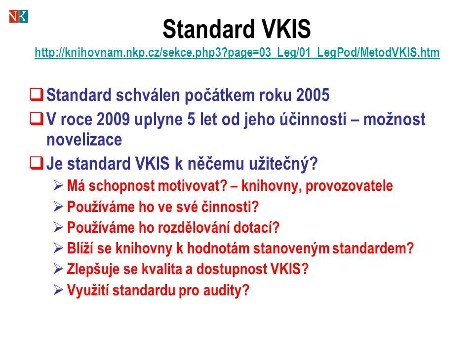 Standard VKIS http://knihovnam.nkp.cz/sekce.php3?page=03_Leg/01_LegPod/MetodVKIS.htm http://knihovnam.nkp.cz/sekce.php3?page=03_Leg/01_LegPod/MetodVKI