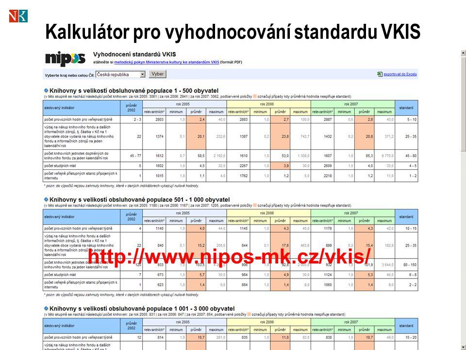 Kalkulátor pro vyhodnocování standardu VKIS http://www.nipos-mk.cz/vkis/