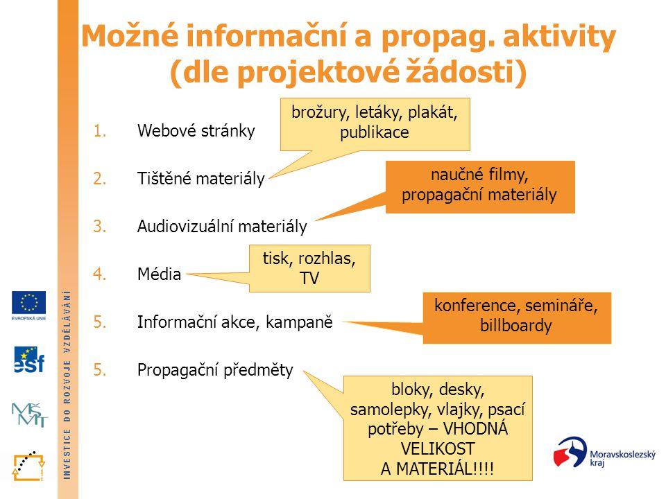 INVESTICE DO ROZVOJE VZDĚLÁVÁNÍ Možné informační a propag.