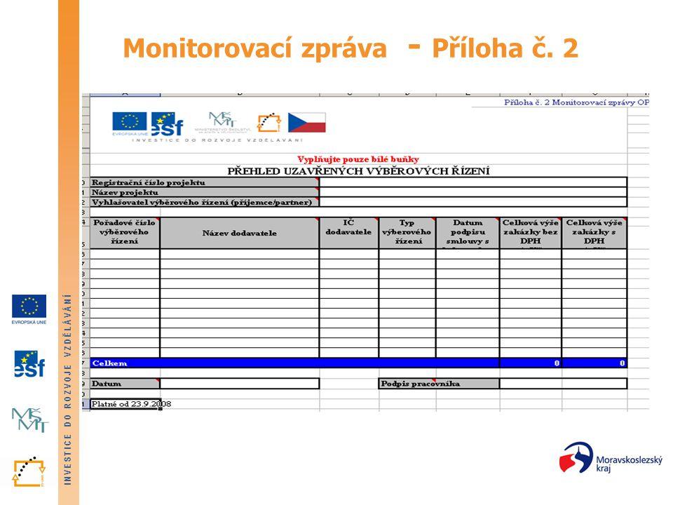 INVESTICE DO ROZVOJE VZDĚLÁVÁNÍ Monitorovací zpráva - Příloha č. 2