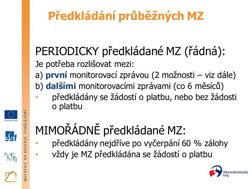 INVESTICE DO ROZVOJE VZDĚLÁVÁNÍ Monitorovací zpráva - vyplňování 6.