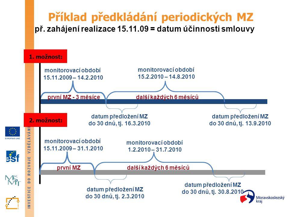 INVESTICE DO ROZVOJE VZDĚLÁVÁNÍ Příklad předkládání mimořádných MZ př.