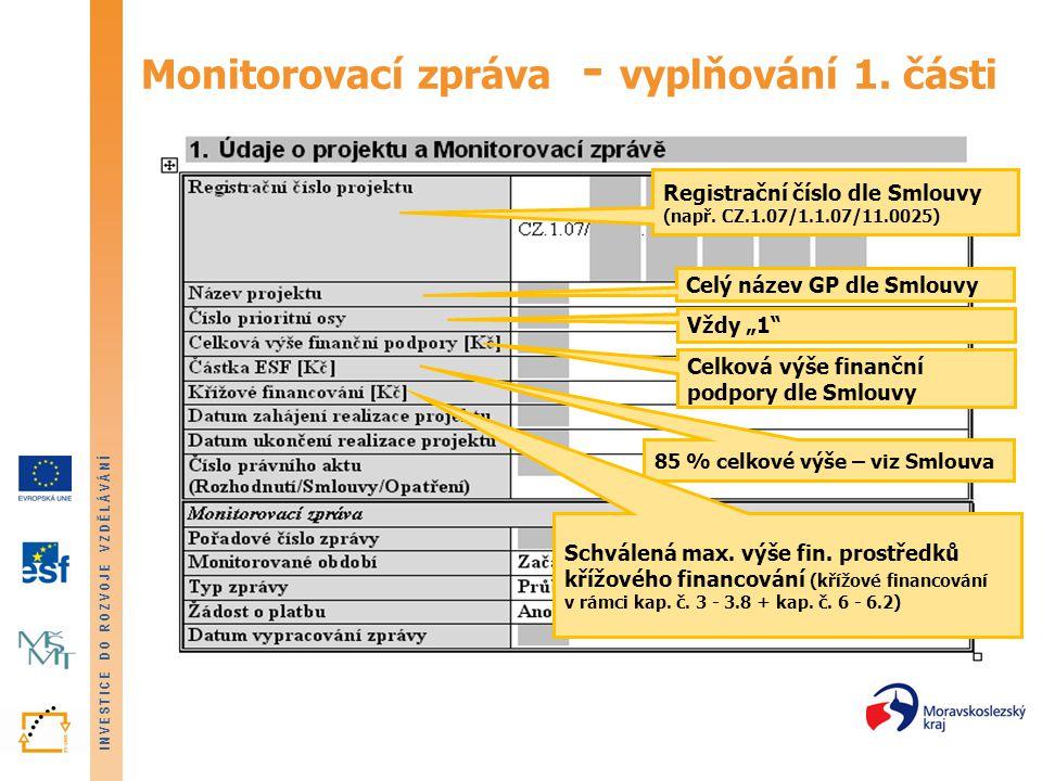 INVESTICE DO ROZVOJE VZDĚLÁVÁNÍ Monitorovací zpráva - Příloha č.