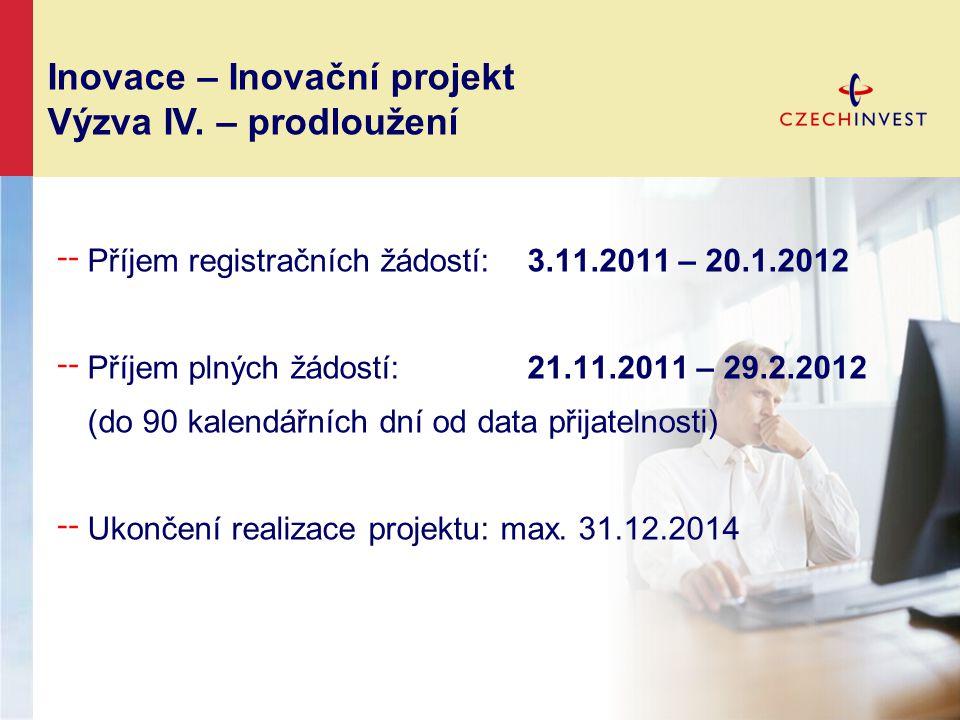 ╌ Příjem registračních žádostí: 3.11.2011 – 20.1.2012 ╌ Příjem plných žádostí: 21.11.2011 – 29.2.2012 (do 90 kalendářních dní od data přijatelnosti) ╌
