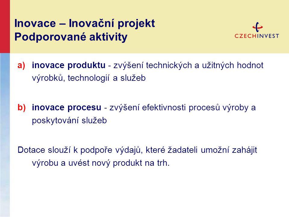 Inovace – Inovační projekt Podporované aktivity a)inovace produktu - zvýšení technických a užitných hodnot výrobků, technologií a služeb b)inovace pro