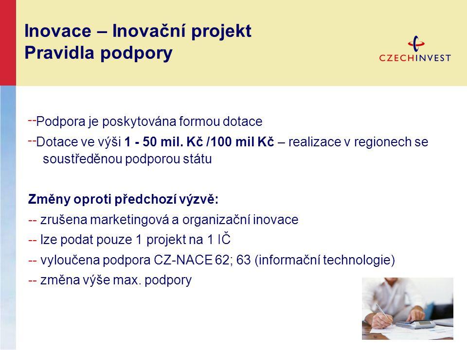 Inovace – Inovační projekt Pravidla podpory ╌ Podpora je poskytována formou dotace ╌ Dotace ve výši 1 - 50 mil. Kč /100 mil Kč – realizace v regionech