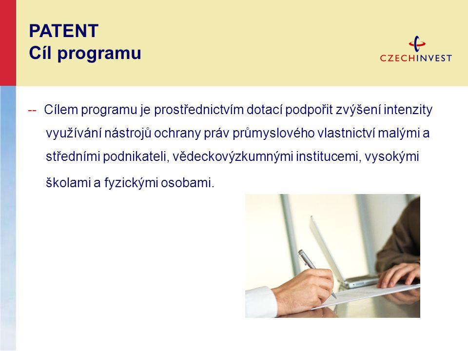 -- Cílem programu je prostřednictvím dotací podpořit zvýšení intenzity využívání nástrojů ochrany práv průmyslového vlastnictví malými a středními pod