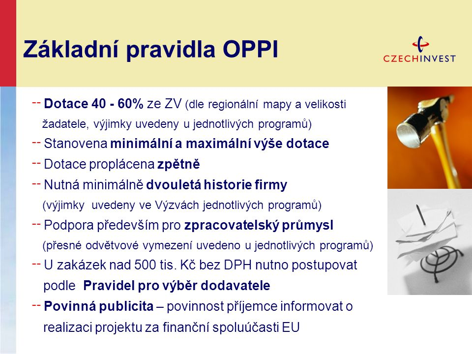 Základní pravidla OPPI ╌ Dotace 40 - 60% ze ZV (dle regionální mapy a velikosti žadatele, výjimky uvedeny u jednotlivých programů) ╌ Stanovena minimál