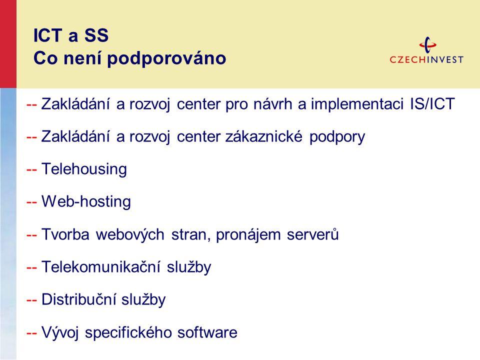 -- Zakládání a rozvoj center pro návrh a implementaci IS/ICT -- Zakládání a rozvoj center zákaznické podpory -- Telehousing -- Web-hosting -- Tvorba w