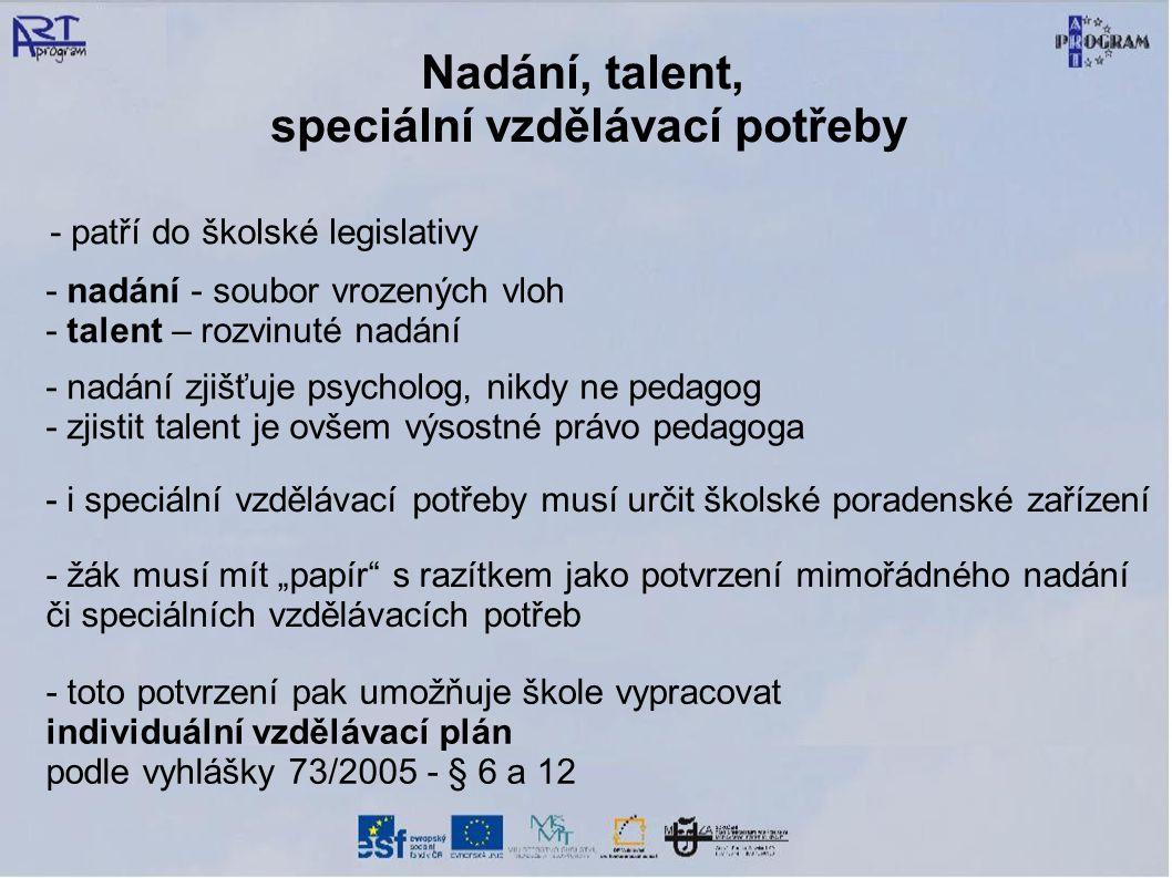 Nadání, talent, speciální vzdělávací potřeby - patří do školské legislativy - nadání - soubor vrozených vloh - talent – rozvinuté nadání - i speciální