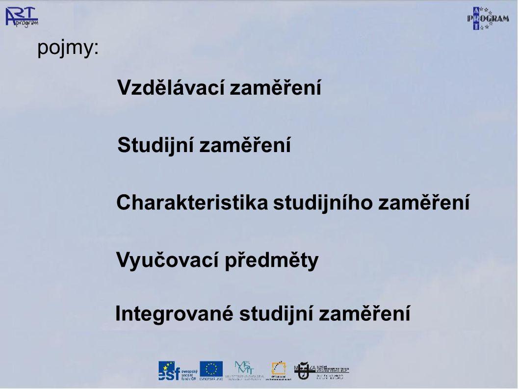 Charakteristika studijního zaměření Vyučovací předměty Vzdělávací zaměření Studijní zaměření pojmy: Integrované studijní zaměření