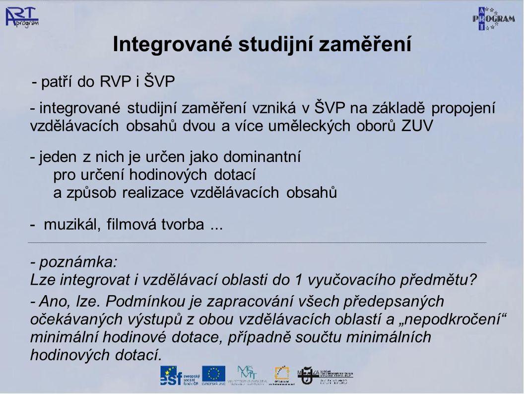 Integrované studijní zaměření - patří do RVP i ŠVP - integrované studijní zaměření vzniká v ŠVP na základě propojení vzdělávacích obsahů dvou a více u