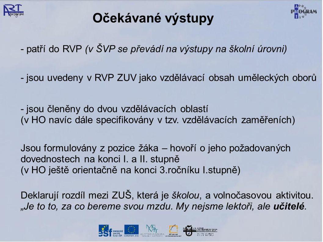 - jsou uvedeny v RVP ZUV jako vzdělávací obsah uměleckých oborů - jsou členěny do dvou vzdělávacích oblastí (v HO navíc dále specifikovány v tzv. vzdě
