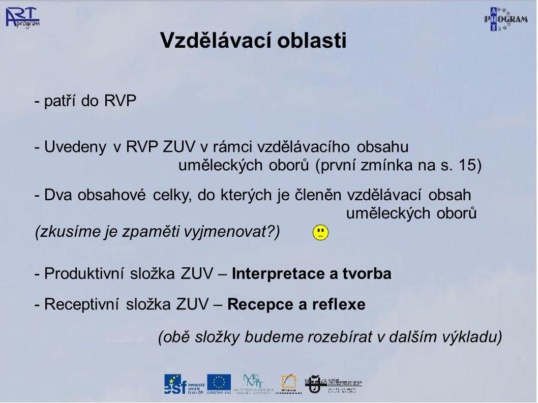 Vzdělávací oblasti - patří do RVP - Uvedeny v RVP ZUV v rámci vzdělávacího obsahu uměleckých oborů (první zmínka na s. 15) - Dva obsahové celky, do kt
