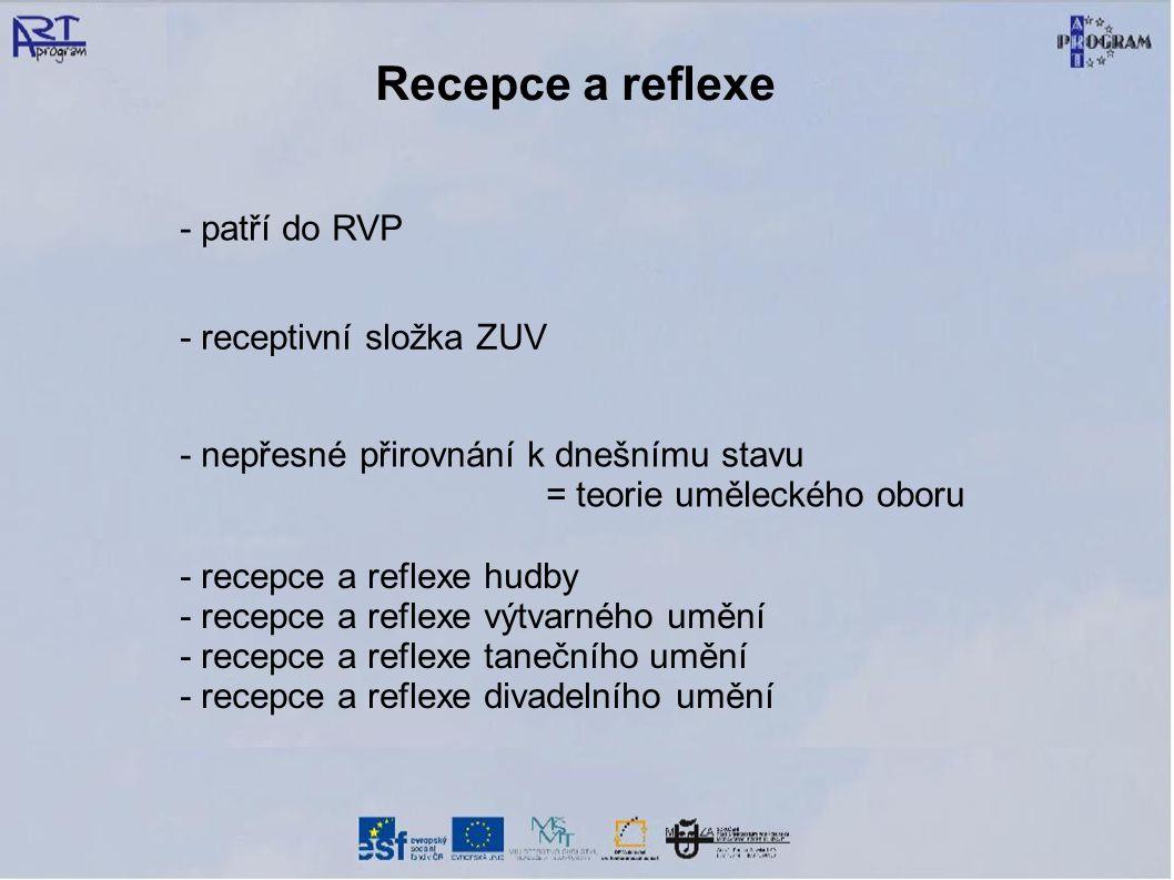 Recepce a reflexe - patří do RVP - receptivní složka ZUV - nepřesné přirovnání k dnešnímu stavu = teorie uměleckého oboru - recepce a reflexe hudby -