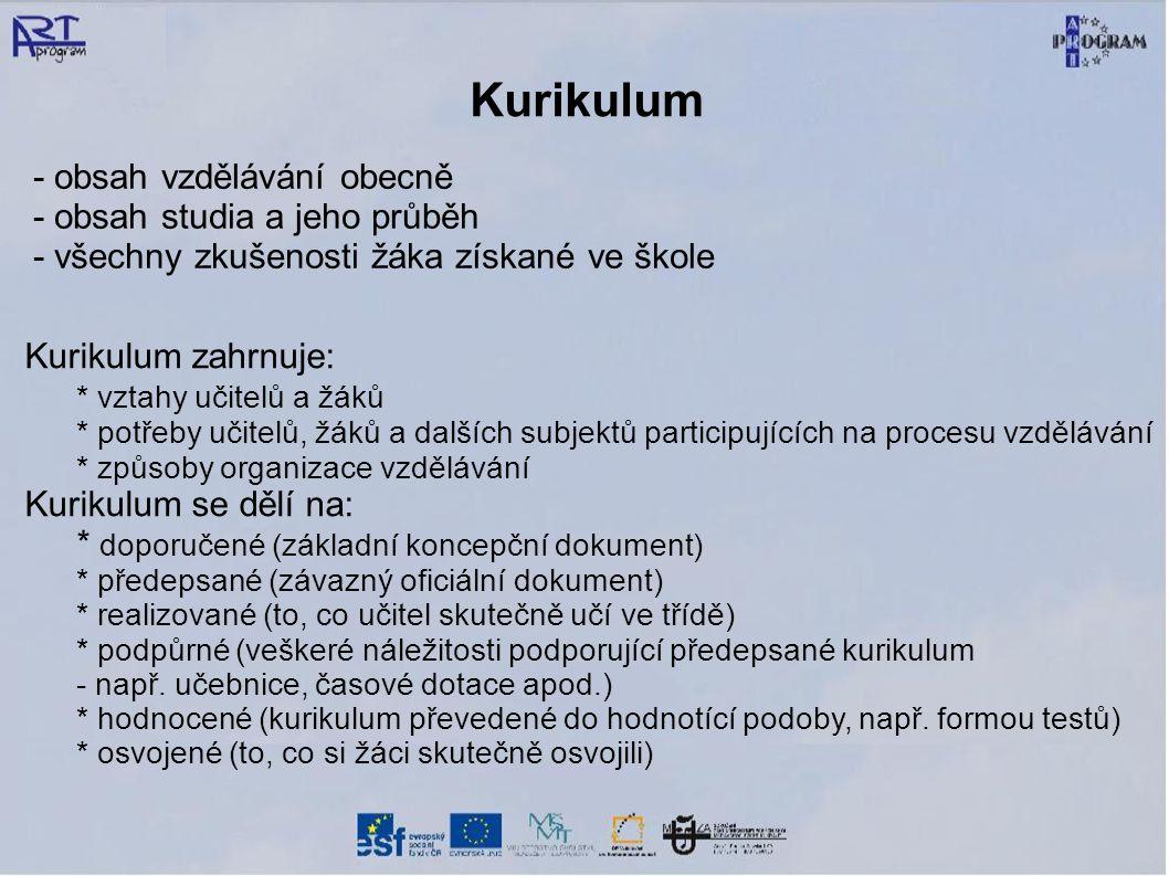 Kurikulum - obsah vzdělávání obecně - obsah studia a jeho průběh - všechny zkušenosti žáka získané ve škole Kurikulum zahrnuje: * vztahy učitelů a žák