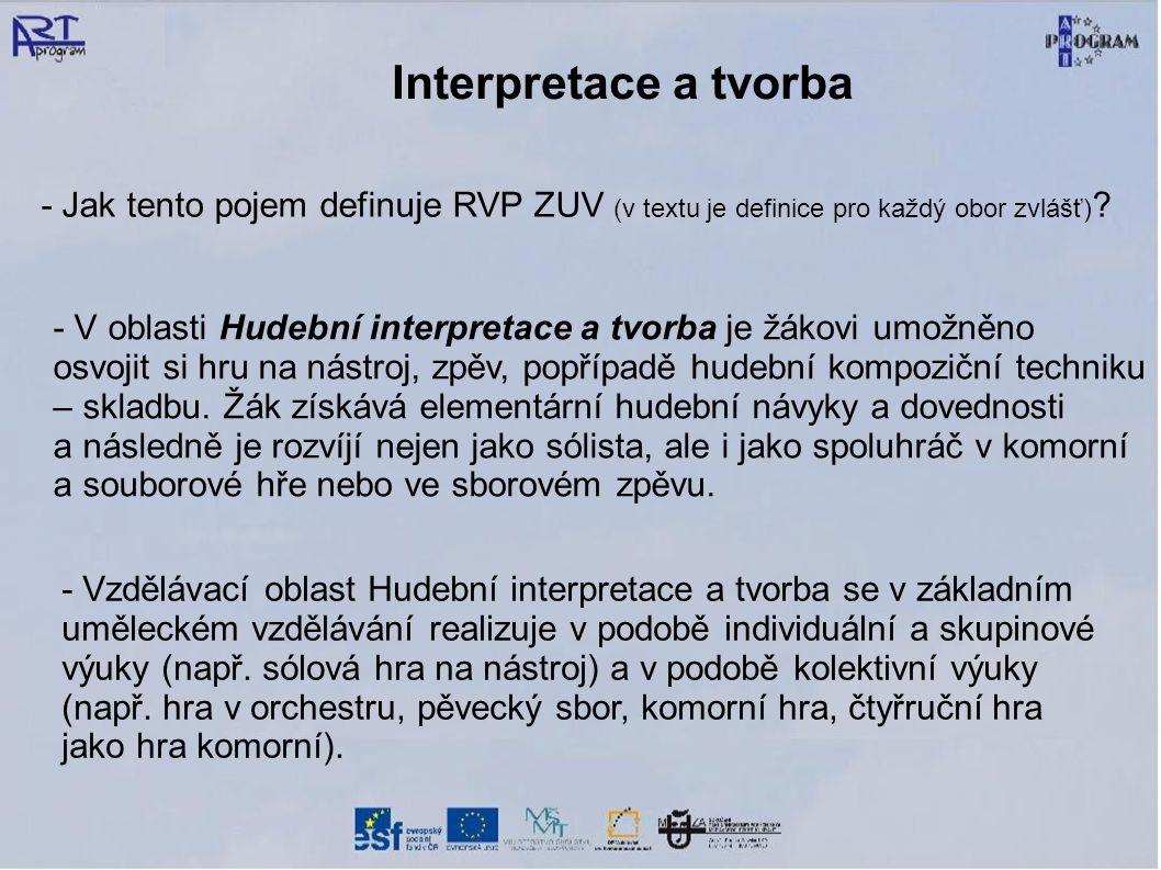Interpretace a tvorba - Jak tento pojem definuje RVP ZUV (v textu je definice pro každý obor zvlášť) ? - V oblasti Hudební interpretace a tvorba je žá