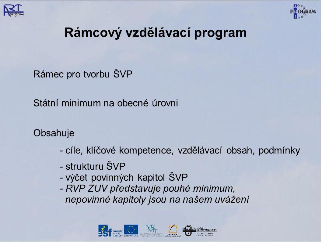 Rámcový vzdělávací program Rámec pro tvorbu ŠVP Státní minimum na obecné úrovni - cíle, klíčové kompetence, vzdělávací obsah, podmínky - strukturu ŠVP