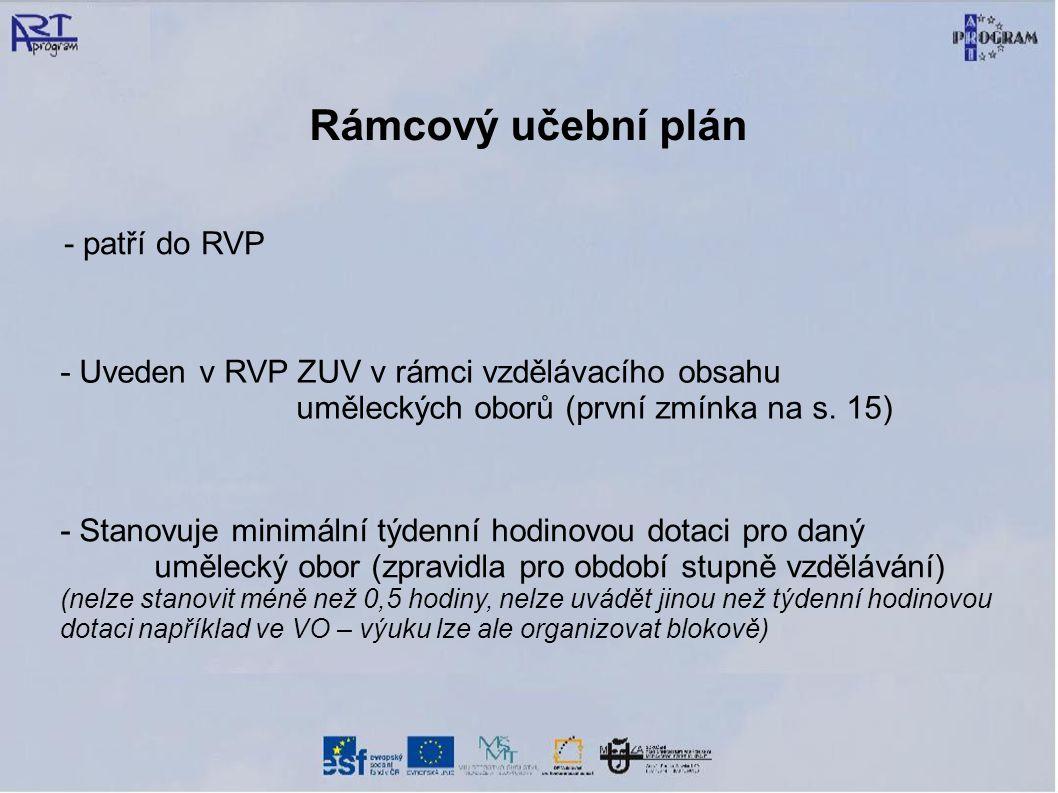 Rámcový učební plán - patří do RVP - Uveden v RVP ZUV v rámci vzdělávacího obsahu uměleckých oborů (první zmínka na s. 15) - Stanovuje minimální týden