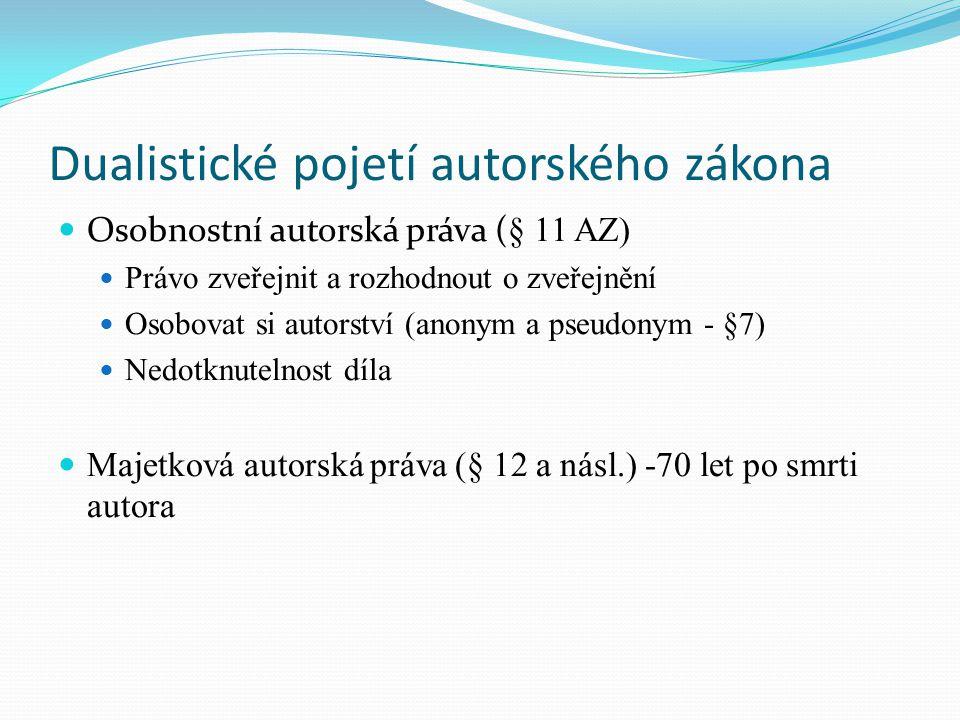 Dualistické pojetí autorského zákona Osobnostní autorská práva ( § 11 AZ) Právo zveřejnit a rozhodnout o zveřejnění Osobovat si autorství (anonym a ps