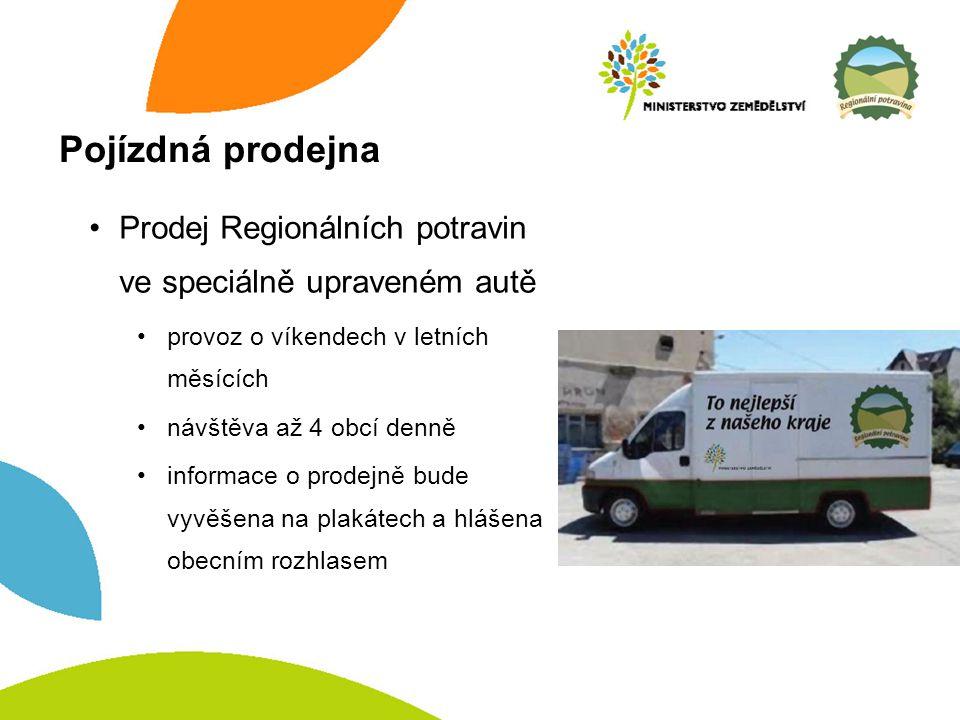 Pojízdná prodejna Prodej Regionálních potravin ve speciálně upraveném autě provoz o víkendech v letních měsících návštěva až 4 obcí denně informace o