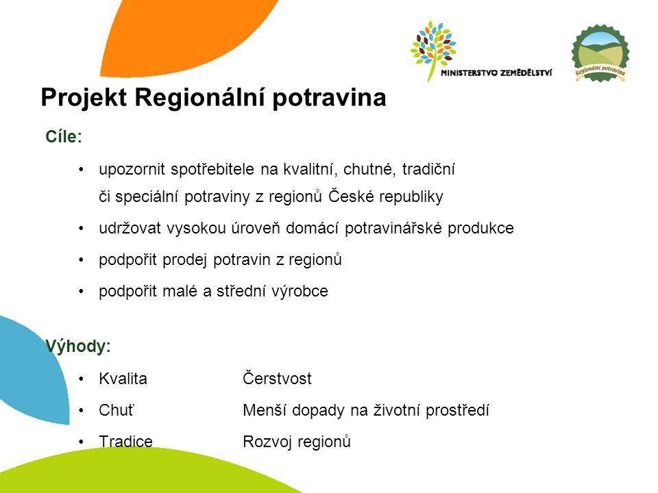 Projekt Regionální potravina Cíle: upozornit spotřebitele na kvalitní, chutné, tradiční či speciální potraviny z regionů České republiky udržovat vysokou úroveň domácí potravinářské produkce podpořit prodej potravin z regionů podpořit malé a střední výrobce Výhody: KvalitaČerstvost ChuťMenší dopady na životní prostředí TradiceRozvoj regionů