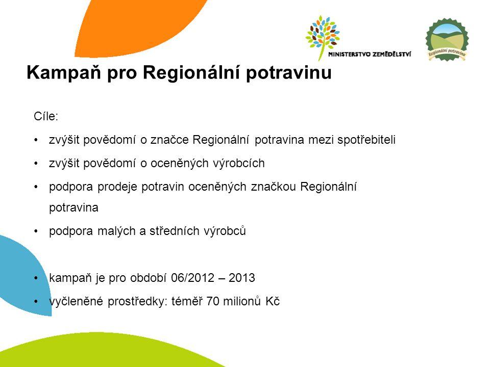Kampaň pro Regionální potravinu Cíle: zvýšit povědomí o značce Regionální potravina mezi spotřebiteli zvýšit povědomí o oceněných výrobcích podpora prodeje potravin oceněných značkou Regionální potravina podpora malých a středních výrobců kampaň je pro období 06/2012 – 2013 vyčleněné prostředky: téměř 70 milionů Kč