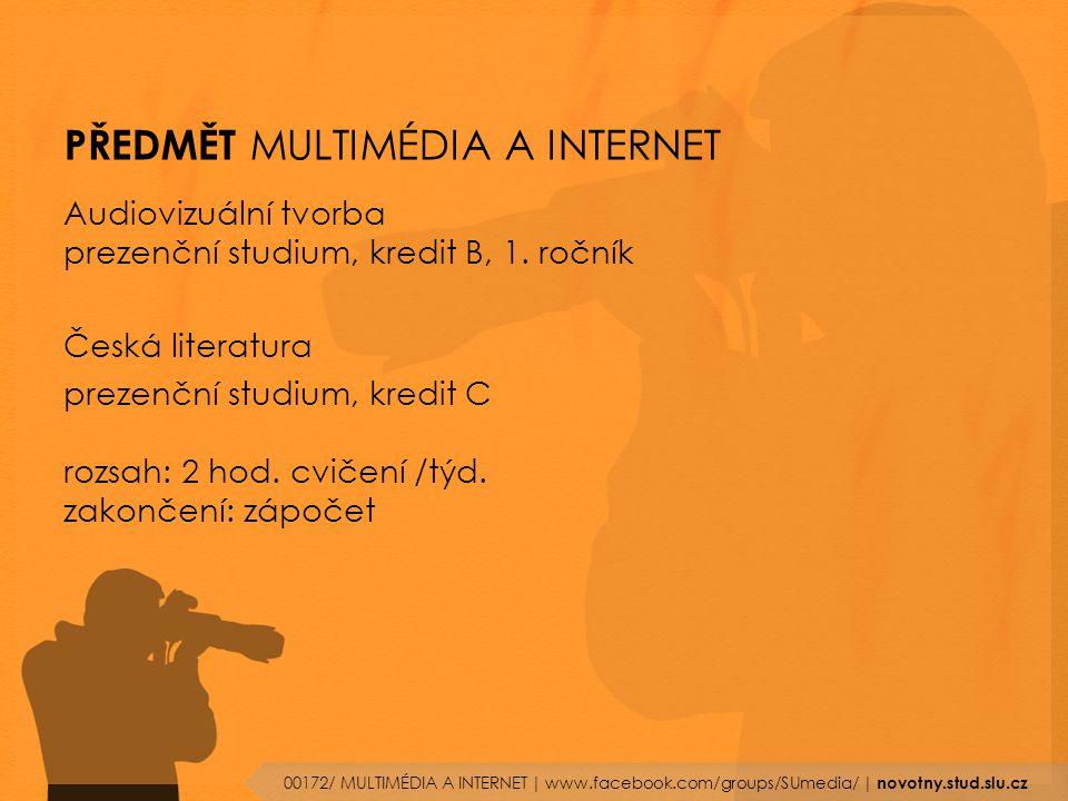 PŘEDMĚT MULTIMÉDIA A INTERNET Audiovizuální tvorba prezenční studium, kredit B, 1.
