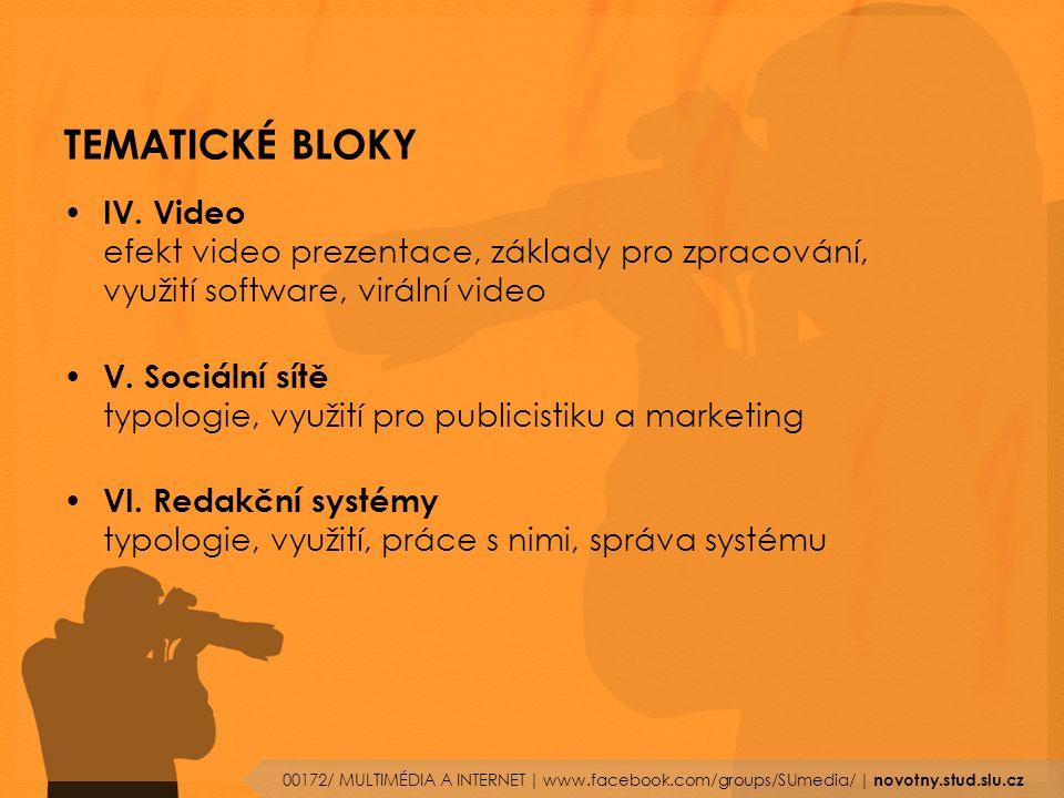 TEMATICKÉ BLOKY IV. Video efekt video prezentace, základy pro zpracování, využití software, virální video V. Sociální sítě typologie, využití pro publ