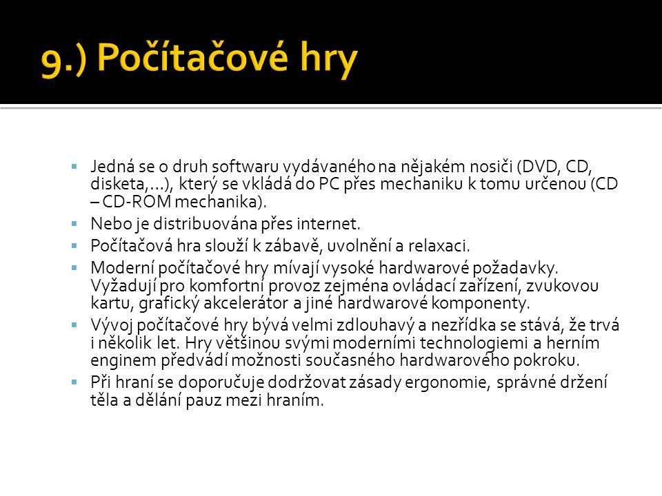  Jedná se o druh softwaru vydávaného na nějakém nosiči (DVD, CD, disketa,…), který se vkládá do PC přes mechaniku k tomu určenou (CD – CD-ROM mechani
