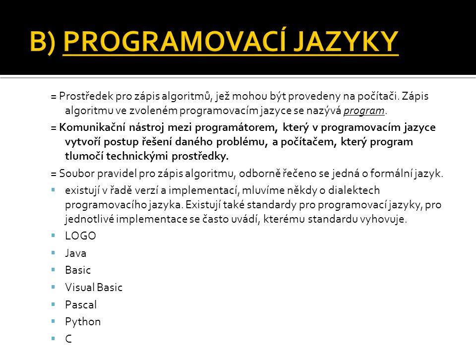 = Prostředek pro zápis algoritmů, jež mohou být provedeny na počítači. Zápis algoritmu ve zvoleném programovacím jazyce se nazývá program. = Komunikač