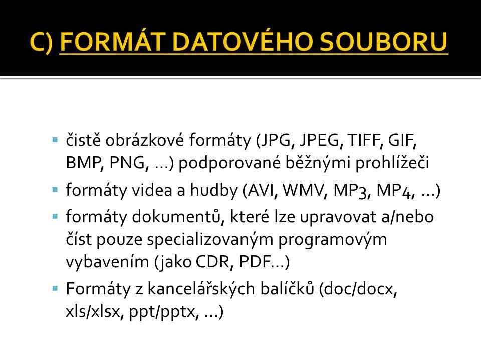  čistě obrázkové formáty (JPG, JPEG, TIFF, GIF, BMP, PNG, …) podporované běžnými prohlížeči  formáty videa a hudby (AVI, WMV, MP3, MP4, …)  formáty