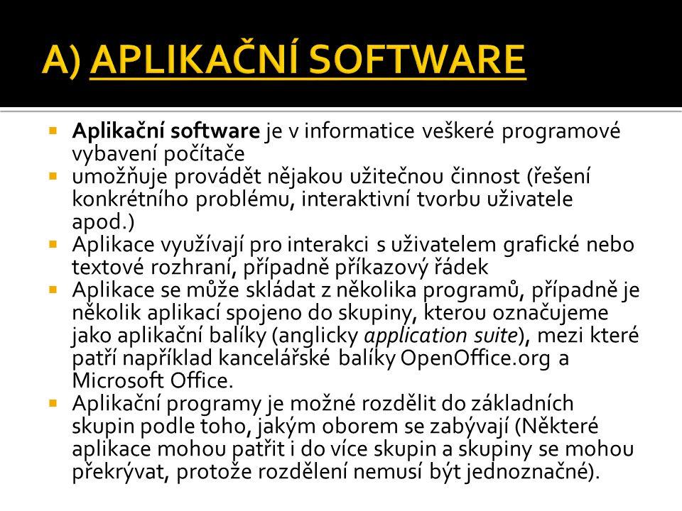  Aplikační software je v informatice veškeré programové vybavení počítače  umožňuje provádět nějakou užitečnou činnost (řešení konkrétního problému,