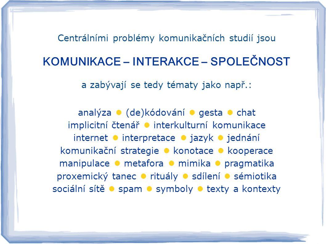 Centrálními problémy komunikačních studií jsou KOMUNIKACE – INTERAKCE – SPOLEČNOST a zabývají se tedy tématy jako např.: analýza (de)kódování gesta chat implicitní čtenář interkulturní komunikace internet interpretace jazyk jednání komunikační strategie konotace kooperace manipulace metafora mimika pragmatika proxemický tanec rituály sdílení sémiotika sociální sítě spam symboly texty a kontexty