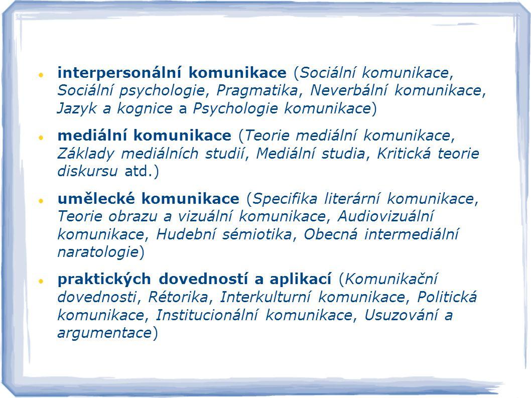 interpersonální komunikace (Sociální komunikace, Sociální psychologie, Pragmatika, Neverbální komunikace, Jazyk a kognice a Psychologie komunikace) mediální komunikace (Teorie mediální komunikace, Základy mediálních studií, Mediální studia, Kritická teorie diskursu atd.) umělecké komunikace (Specifika literární komunikace, Teorie obrazu a vizuální komunikace, Audiovizuální komunikace, Hudební sémiotika, Obecná intermediální naratologie) praktických dovedností a aplikací (Komunikační dovednosti, Rétorika, Interkulturní komunikace, Politická komunikace, Institucionální komunikace, Usuzování a argumentace)