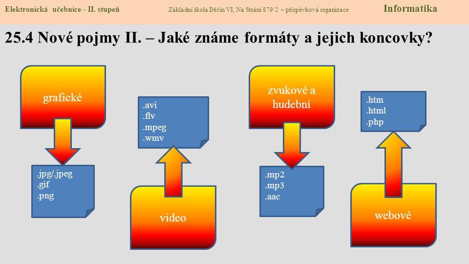 25.4 Nové pojmy II.– Jaké známe formáty a jejich koncovky.