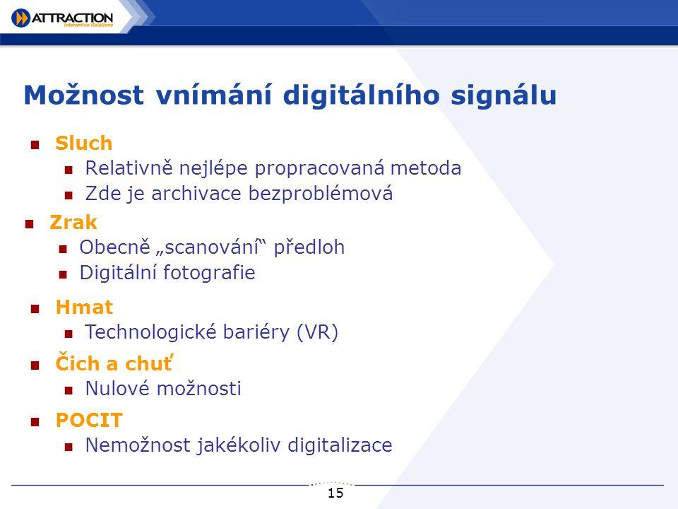 """15 Možnost vnímání digitálního signálu Sluch Relativně nejlépe propracovaná metoda Zde je archivace bezproblémová Zrak Obecně """"scanování"""" předloh Digi"""