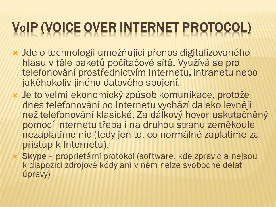  Jde o technologii umožňující přenos digitalizovaného hlasu v těle paketů počítačové sítě. Využívá se pro telefonování prostřednictvím Internetu, int