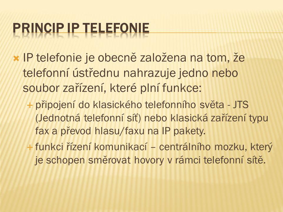  IP telefonie je obecně založena na tom, že telefonní ústřednu nahrazuje jedno nebo soubor zařízení, které plní funkce:  připojení do klasického tel