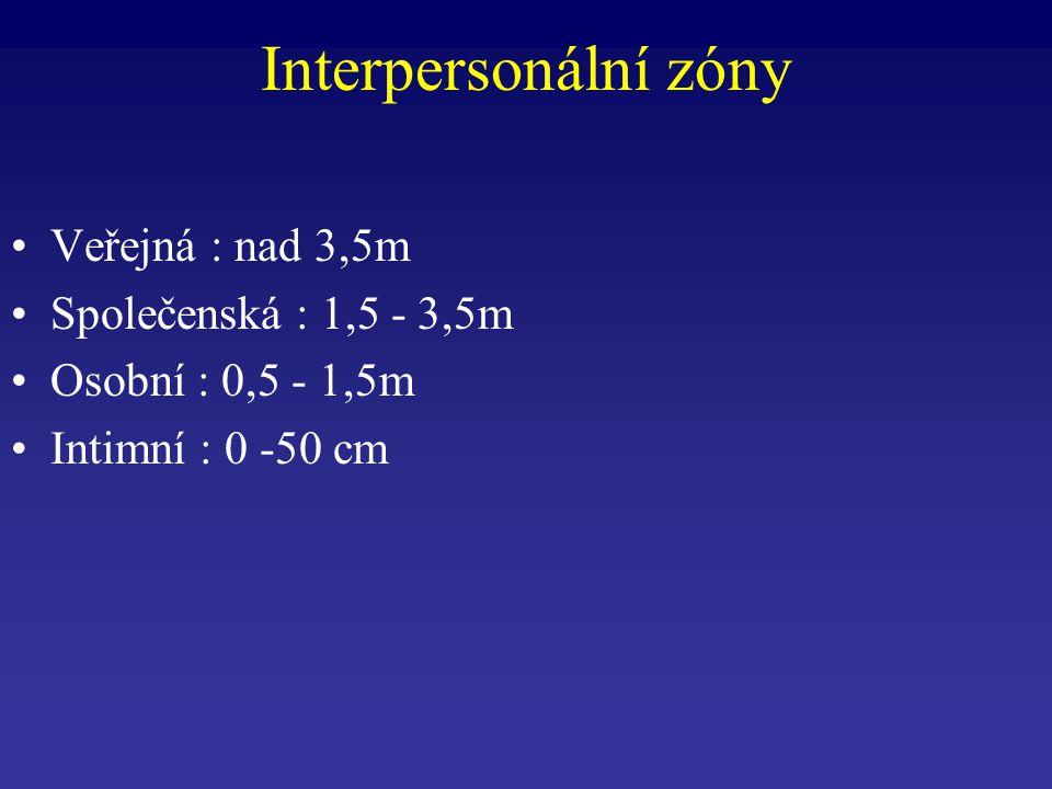 Veřejná : nad 3,5m Společenská : 1,5 - 3,5m Osobní : 0,5 - 1,5m Intimní : 0 -50 cm Interpersonální zóny