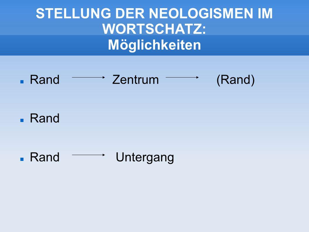 STELLUNG DER NEOLOGISMEN IM WORTSCHATZ: Möglichkeiten Rand Zentrum (Rand) Rand Rand Untergang