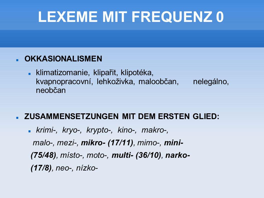 LEXEME MIT FREQUENZ 0 OKKASIONALISMEN klimatizomanie, klipařit, klipotéka, kvapnopracovní, lehkoživka, maloobčan, nelegálno, neobčan ZUSAMMENSETZUNGEN MIT DEM ERSTEN GLIED: krimi-, kryo-, krypto-, kino-, makro-, malo-, mezi-, mikro- (17/11), mimo-, mini- (75/48), místo-, moto-, multi- (36/10), narko- (17/8), neo-, nízko-