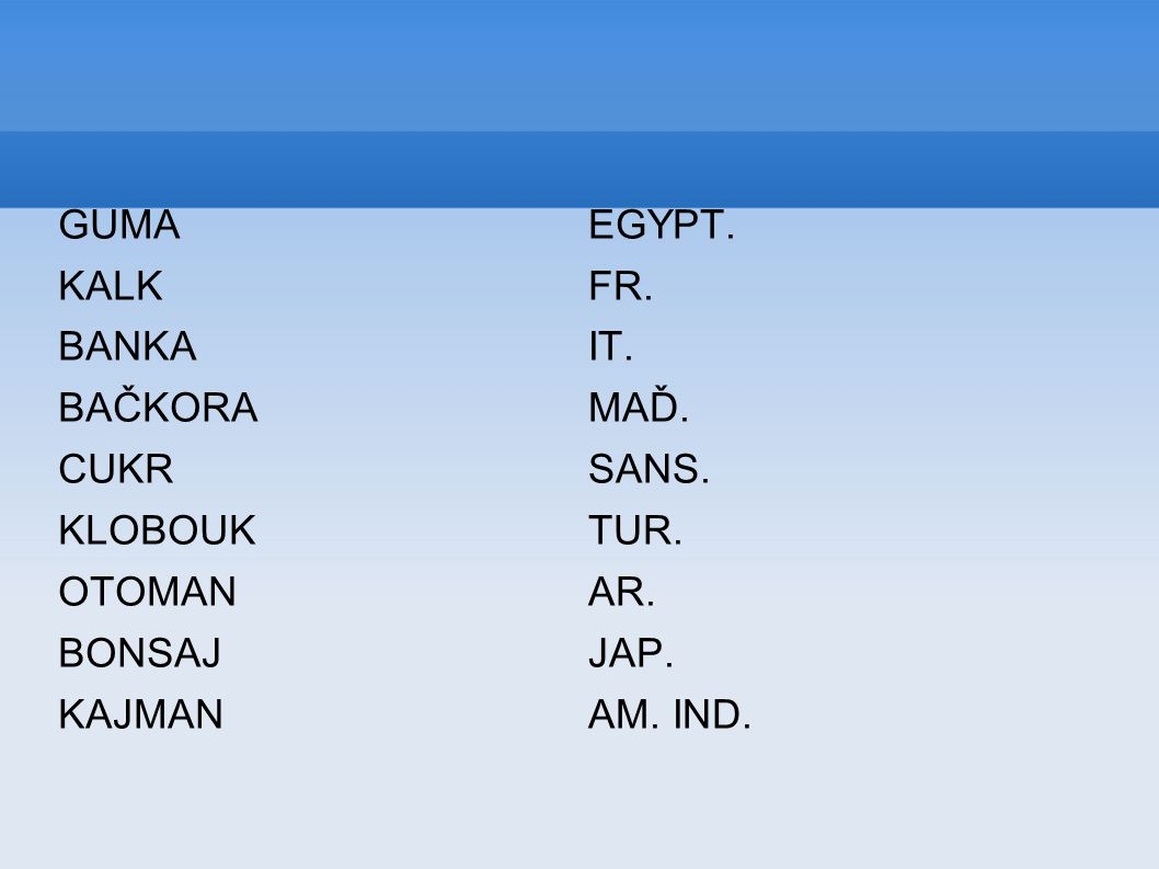 GUMA KALK BANKA BAČKORA CUKR KLOBOUK OTOMAN BONSAJ KAJMAN EGYPT.
