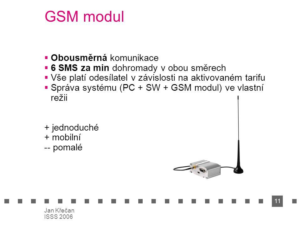 11 Jan Křečan ISSS 2006 GSM modul  Obousměrná komunikace  6 SMS za min dohromady v obou směrech  Vše platí odesílatel v závislosti na aktivovaném t